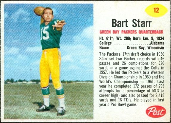 1962 Post cereal football Grape Nuts Flakes 16 oz. #12 Bart Starr