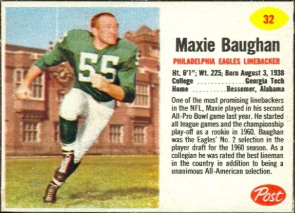 1962 Post cereal football Sugar Crisp 14 oz. #32 Maxie Buaghan